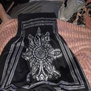 Large strapless mini dress
